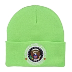 Green Beanie Hat with Seal of the President