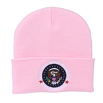 Pink Knit Beanie Hat with Seal of the President