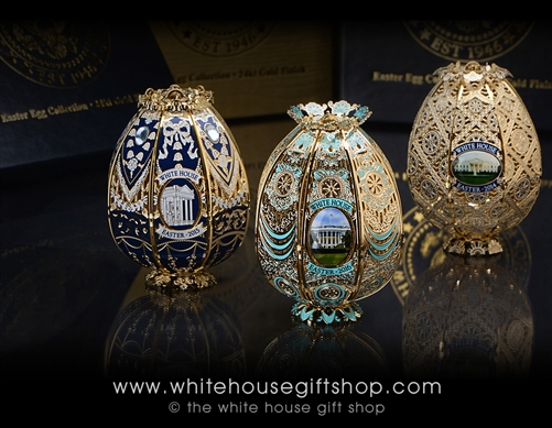 The White House Gold Filigree Easter Egg Roll Heirloom Eggs of the White House Gift Shop includes 2016, 2015, and 2014.
