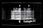 The White House and Washington D.C. Glass Hologram Laser Cube Display and Commemorative with National Monuments from White House Gifts and White House Gift Shop.