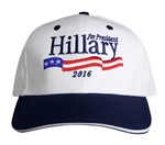 Hillary Clinton for President, white Signature hat or cap from the White House Gift Shop and Gifts Collection for Presidential Campaign 2016 and Inauguration 2017/