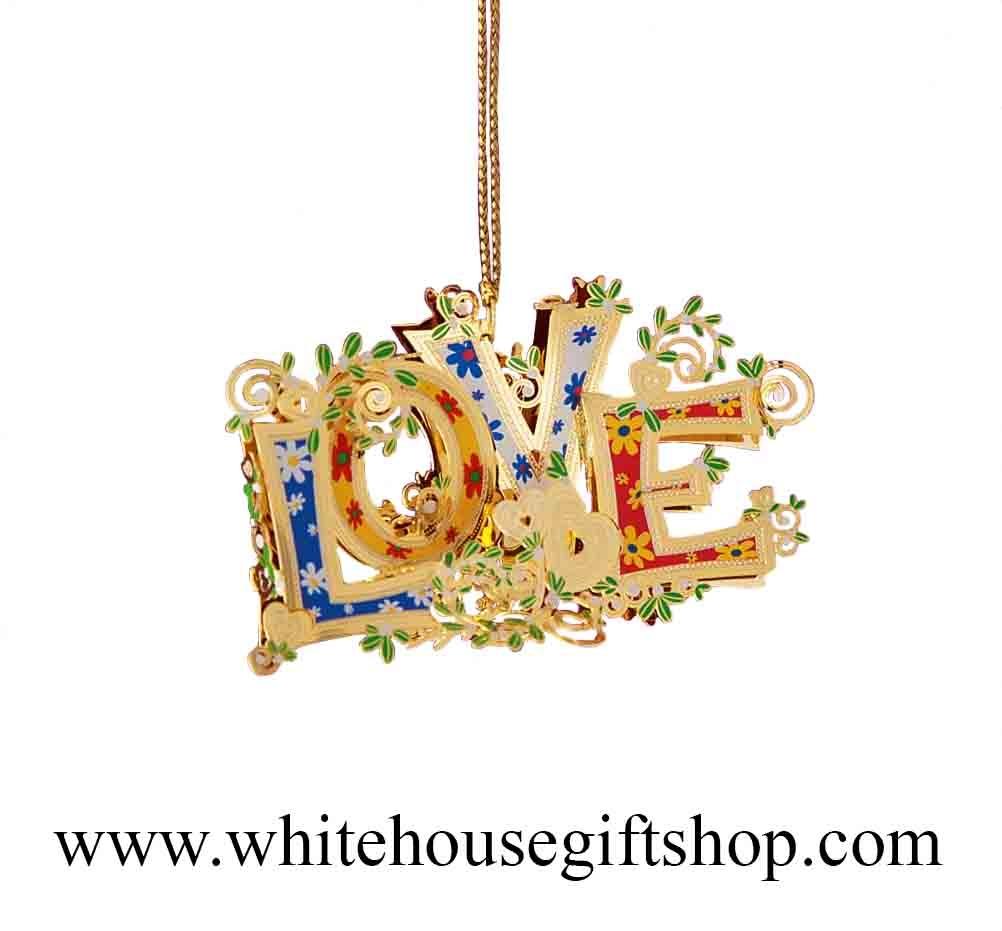 ornament love 24kt gold finish 3d enamels made by. Black Bedroom Furniture Sets. Home Design Ideas