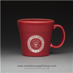 coffee-mug-white-house-dining-room-seal of the president-claret-red-mugs-white house gift shop-designed and hand-etched by patriotic artist anthony giannini-fiesta-compare with Macy's, Waterford, Nordstrum, Target, Historical Association-white house gifts
