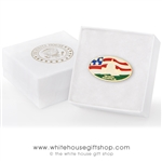 White House South Lawn Visitor Style Lapel Pin, Perfectly Baked Enamels with Protective Finish on Brass