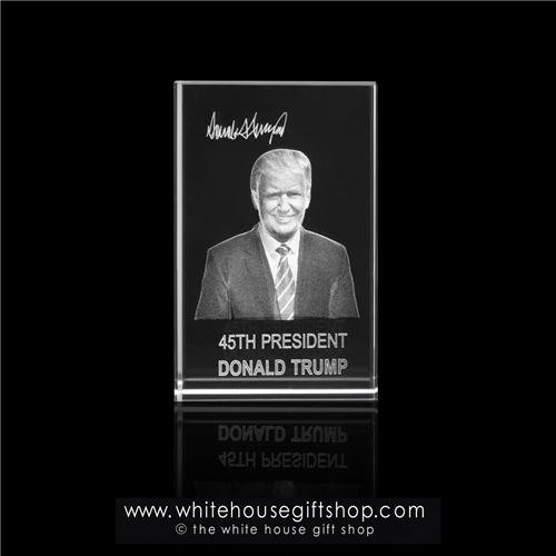 "President Donald Trump, POTUS, Optical Glass  Monolithic Hologram Display or Paperweight, Rectangular, App. 4"" in Height X 2"" Wide, Wrapped in Tissue with Crinkle Shred & Set in 2 Piece Gift Box with White House Gift Shop® Seal"