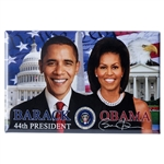 President Obama and First Lady Michelle Obama Photo Magnet in Front of American Flag.