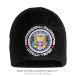 Patriotic Inauguration Beanie Cap, Black with Seal of the President of the United States, Donald J. Trump.  From the Official White House Gift Shop Est. by Presidential Order & U.S. Secret Service Store,