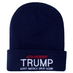 Donald Trump, 45th President, Navy Blue Knit Ski Hat or Beanie, Make America Great Again, White House Gift Shop