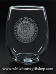 White House President Etched Set of 2 Stemless Wine Glasses from White House Gift Shop Est 1946, American Made Glass, Made in USA