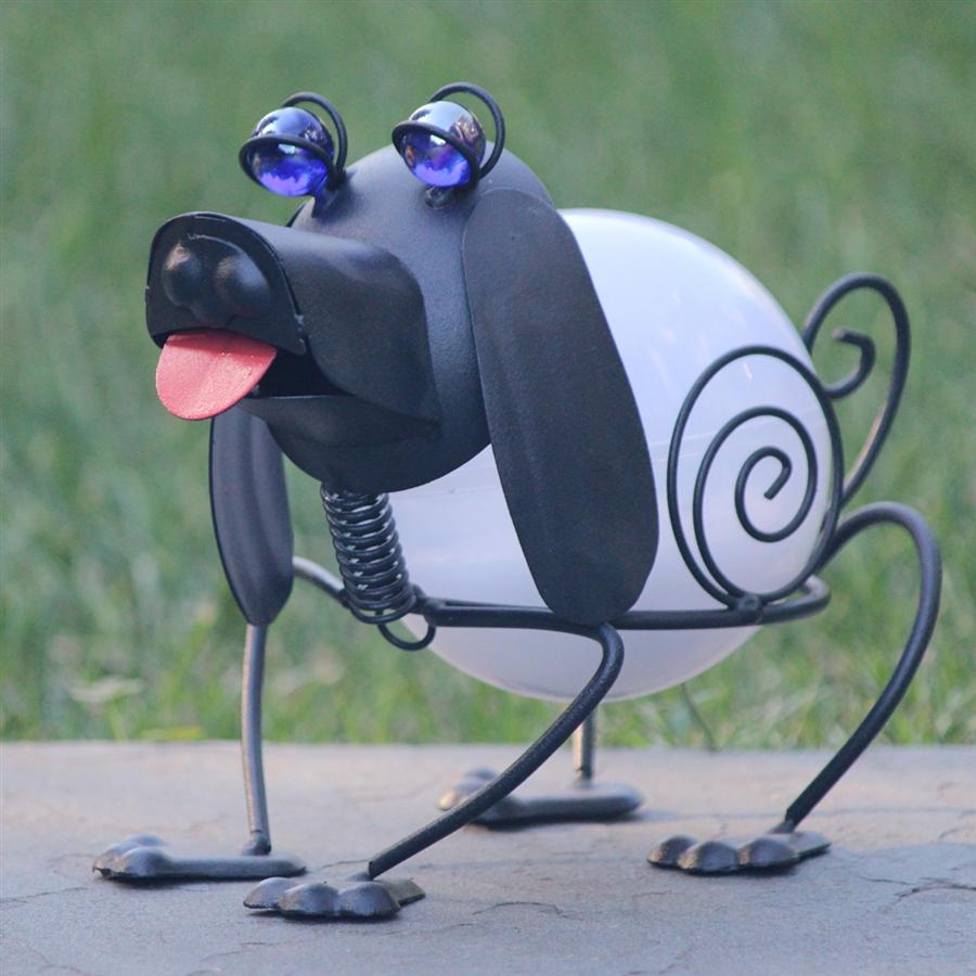 Solar Garden Art ColorChanging Metal Dog SOLAscape