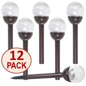 Crackle Glass Solar Color-Changing & White LED Bronze Path Lights - Set of 12
