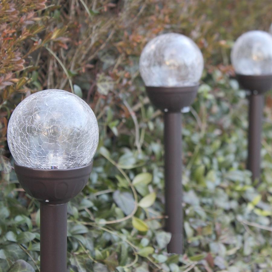 crackle glass solar color changing white led bronze path lights for. Black Bedroom Furniture Sets. Home Design Ideas