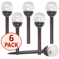 Crackle Glass Solar Color-Changing & White LED Bronze Path Lights - Set of 6