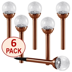 Crackle Glass Solar Color-Changing & White LED Copper Path Lights - Set of 6