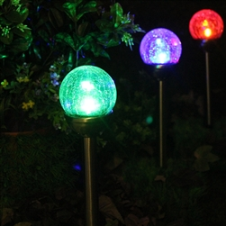 Crackle Glass Solar Color-Changing & White LED Stainless Steel Path Lights - Set of 6