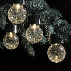 Color Changing and White Crackle Glass Hanging Solar Lights - Set of 12