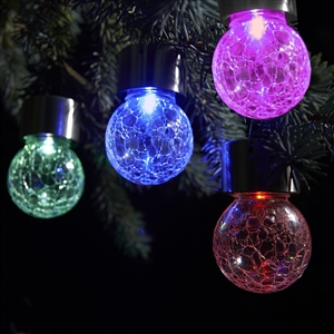 Color Changing and White Crackle Glass Hanging Solar Lights - Set of 8