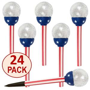 "Solar Patriotic American Flag Design 3.15"" Crackle Glass Path Lights:  Set of Twenty-Four (24)"