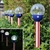 "Solar Patriotic American Flag Design 3.15"" Crackle Glass Path Lights:  Set of Six (6)"