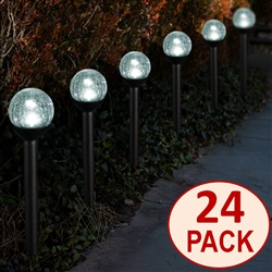 "Solar Powered path lights 2.5"" Crackle Glass Path Lights:  Set of Twenty-four (24)"