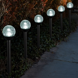 "Solar Powered path lights 2.5"" Crackle Glass Path Lights:  Set of Thirty-six (36)"