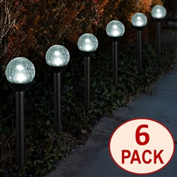 "Solar Powered path lights 2.5"" Crackle Glass Path Lights:  Set of Six (6)"