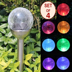 Crackle Glass Solar Color-Changing & White LED Stainless Steel Path Lights - Set of 4