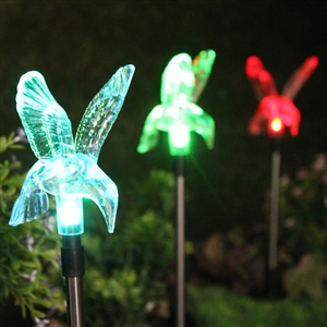 Color-Changing Hummingbird Garden Stake Light Set of Three (3)