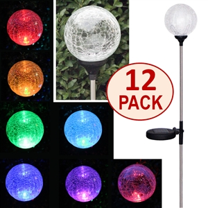 Crackle Glass Globe Solar Stake Lights - Set of Twelve (12)