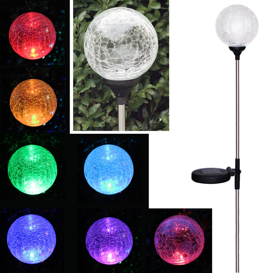 Color Changing Crackle Glass Globe Solar Stake Light