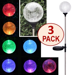 Crackle Glass Globe Solar Stake Lights - Set of Three (3)