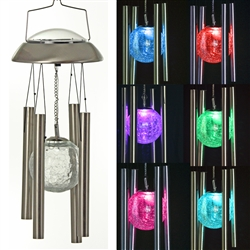 Solar Color-Changing Stainless Steel Wind Chime | Set of Two (2)