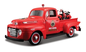 1:24 Ford '48 Pickup Fire Dept - 1:24 Harley Motorcycles