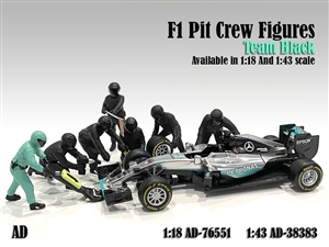 1:18 F1 Pit Crew Figures Team Black (7 Figures)