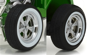 1:18 1932 Custom Hot Rod Chrome 5-Spoke Wheel & Tire Pack