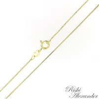14kt Gold plating over Sterling Silver Box Chain Vermeil .8mm thick with a spring ring clasp