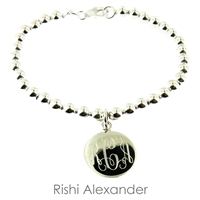 925 steling silver and freshwater ball bead monogram bracelet