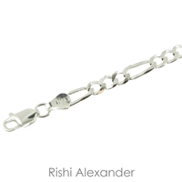 Sterling Silver Figaro Chain 4mm thick with spring ring clasp