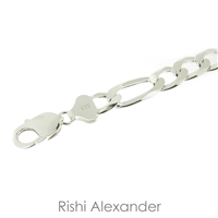 Sterling Silver Figaro Chain 11 mm thick with lobster claw clasp heavy chain bracelet by Rishi Alexander