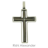 Stainless steel Two-tone Black and Silver CZ Cross Pendant