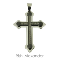 Stainless steel Two-tone Black and Silver Greek Key Cross Pendant