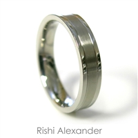 Stainless steel wedding band ring with brushed center 5.5 mm wide