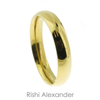 Stainless steel wedding band ring in goldtone high polish finish 4 mm wide