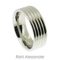 Stainless steel polished wedding band ring with 5 ridges and 8 mm wide