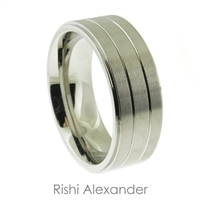 Stainless steel brushed  mens wedding band ring with 2 subtle lines and 8 mm wide