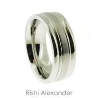 Stainless steel matte finish center stripe with polished edges mens wedding band ring  8 mm wide