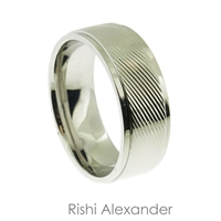 Stainless steel diagonal lines mens wedding band ring  8 mm wide