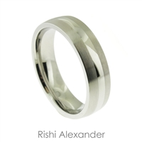 Stainless steel matte finish with polished silver stripe mens wedding band ring  6 mm wide