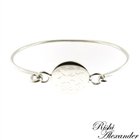 925 sterling silver round with round monogram bracelet hinged cuff