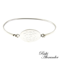 925 sterling silver with oval monogram bracelet hinged cuff